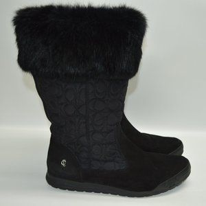 Coach Talen Suede Signature Embossed Fur Boots 11